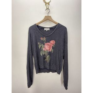 Wildfox Crew Neck Long Sleeve Sweater Black Size S